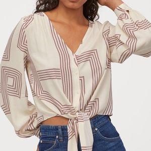 Patterned tie-hem blouse